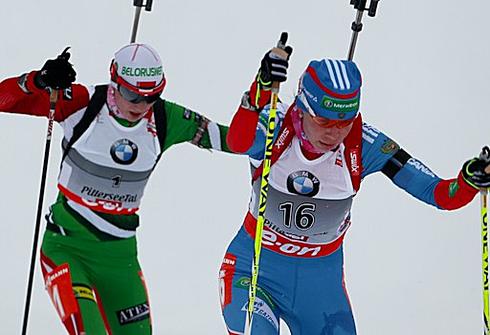 Екатерина ШУМИЛОВА в гонке преследования в Хохфильцене. Фото СБР