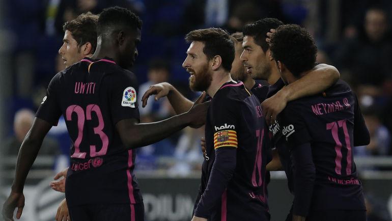 """Суббота. Корнелья-де-Льобрегад. """"Эспаньол"""" - """"Барселона"""" - 0:3. Игроки """"Барсы"""" празднуют гол. Фото AFP"""
