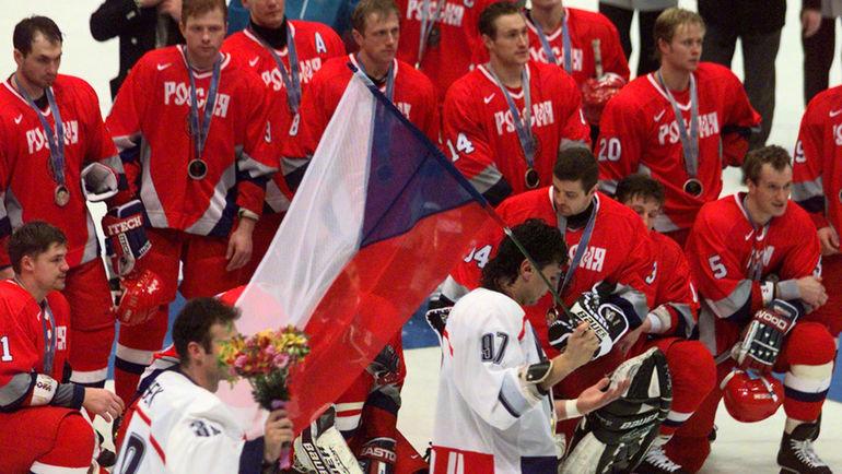 22 февраля 1998 года. Нагано. Финал олимпийского турнира по хоккею. Чехия - Россия - 1:0. Доминик ГАШЕК и Яромир ЯГР с золотыми медалями Олимпиады.
