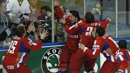 18 мая 2008 года. Игроки сборной России празднуют победу над Канадой в финале чемпионата мира.