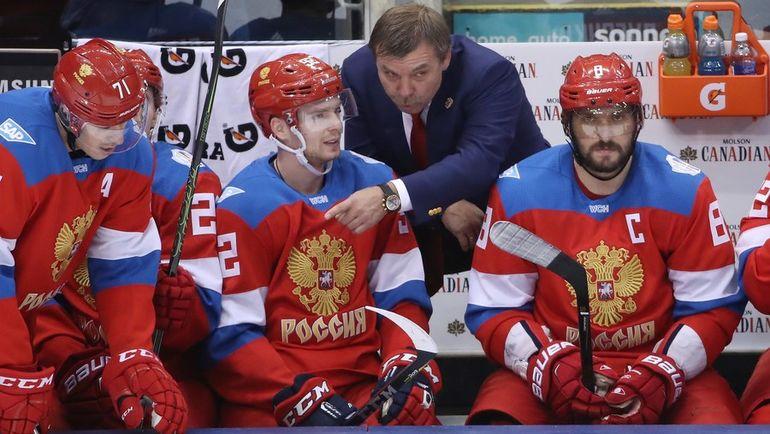 Сегодня сборная России Олега ЗНАРКА проведет новый матч с Канадой. На этот раз Евгения МАЛКИНА (№71) и Александра ОВЕЧКИНА (№8) не будет за спинами Евгения КУЗНЕЦОВА и его партнеров. Фото AFP