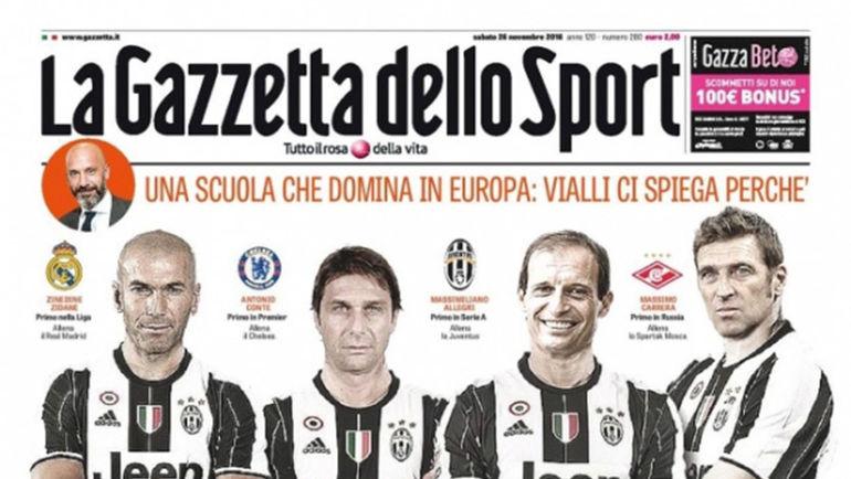 Зинедин Зидан, Антонио Конте, Массимилиано Аллегри и Массимо Каррера на обложке La Gazzetta Dello Sport