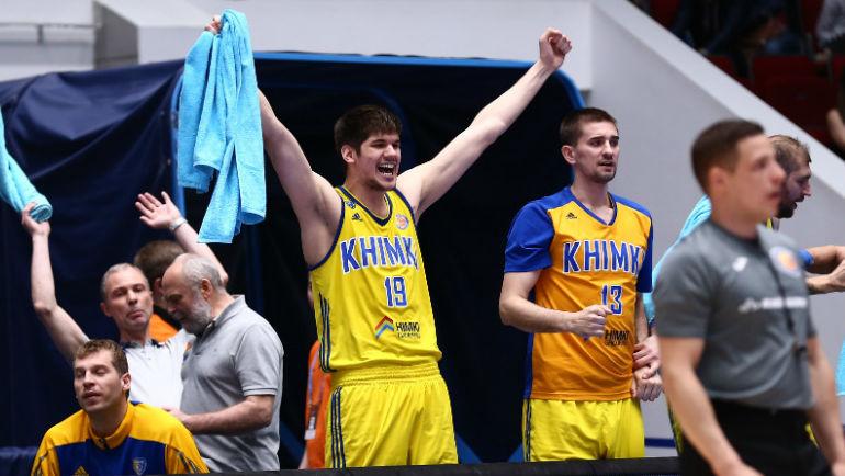 """Игроки """"Химок"""" радуются выходу в финал Единой лиги ВТБ. Фото БК """"Химки"""""""