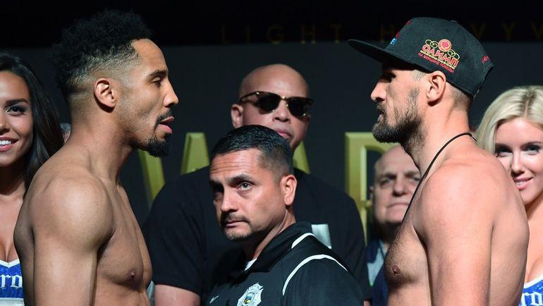16 июня. Лас-Вегас. Анде УОРД (слева) и Сергей КОВАЛЕВ перед реваншем. Фото AFP