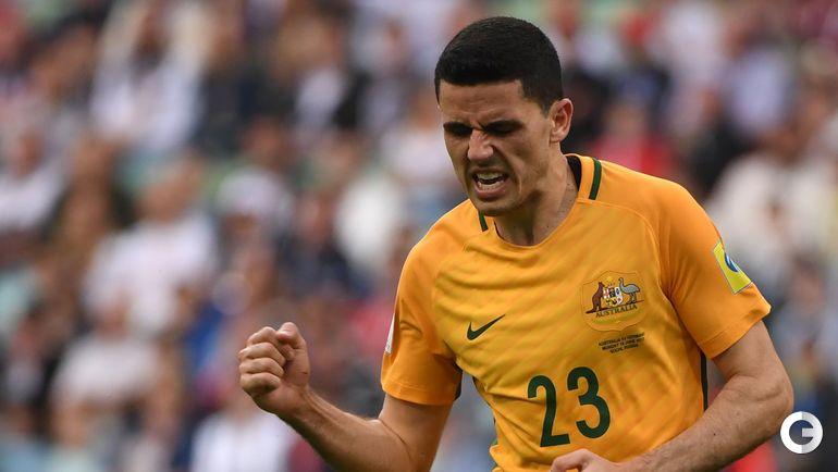 Сегодня. Сочи. Австралия - Германия - 2:3. Автор гола Томми РОГИЧ. Фото AFP