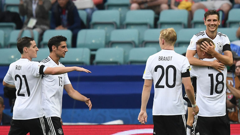 Сегодня. Сочи. Австралия - Германия - 2:3. Немцы празднуют гол. Фото AFP