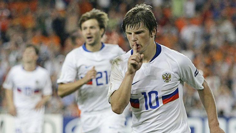 21 июня 2008 года. Базель. Голландия - Россия - 1:3. Андрей АРШАВИН празднует гол.