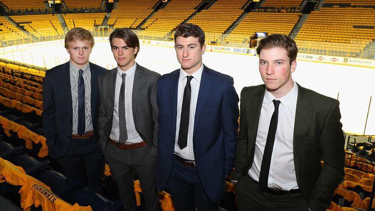 Кейси МИТТЕЛЬШТАДТ, Нико ХИШИР, Гэйб ВИЛАРДИ и Нолан ПАТРИК (слева направо) - лучшие проспекты предстоящего драфта НХЛ. Фото AFP