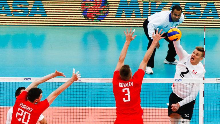 Дмитрий КОВАЛЕВ (№3) в матче Мировой лиги. Фото fivb.com