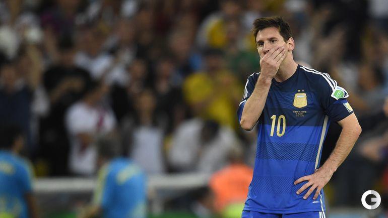 13 июля 2014 года. Рио-де-Жанейро. Германия - Аргентина - 1:0 д.в. Эмоции Лионеля МЕССИ после игры.