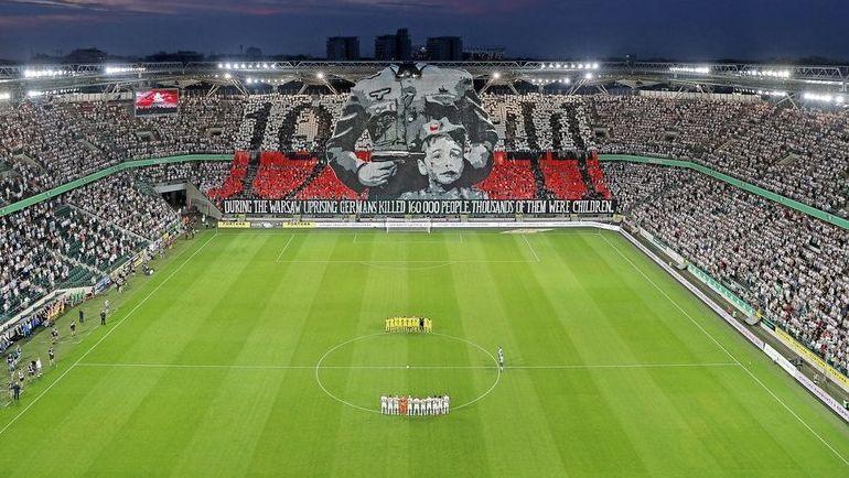 Баннер болельщиков'Легии в честь погибших в Варшавском восстании