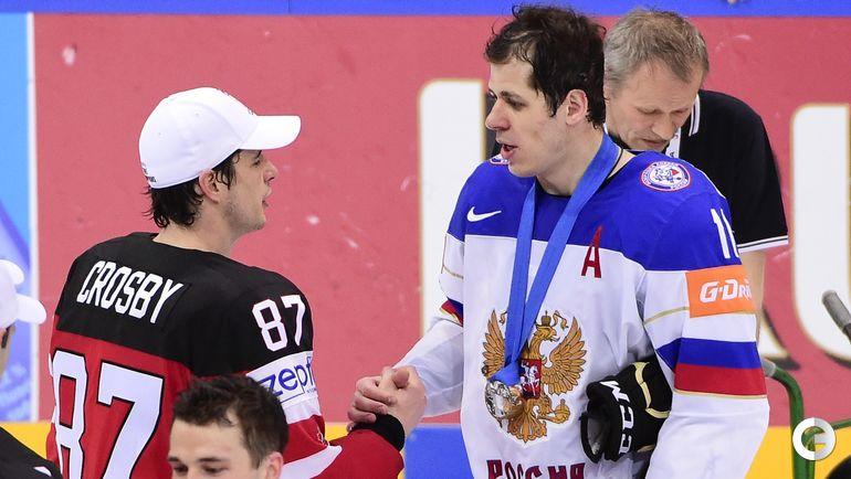 2015 год. Сидни КРОСБИ и Евгений МАЛКИН после финального матча чемпионата мира. Фото AFP