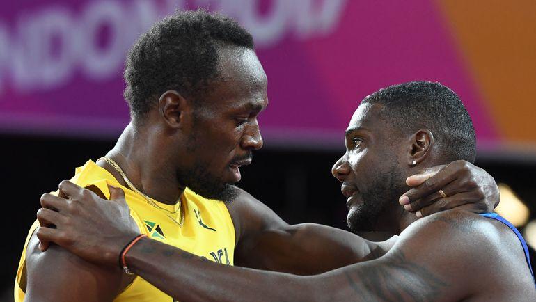 Усэйн БОЛТ и Джастин ГЭТЛИН. Фото AFP
