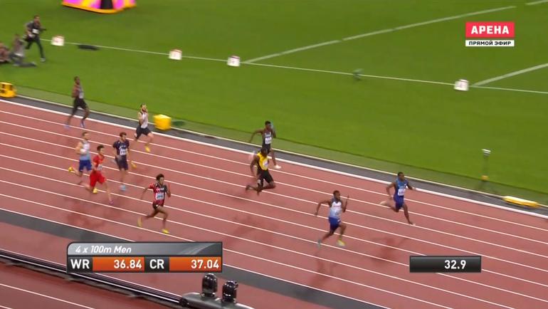Раскадровка сорванного забега Усэйна Болта в эстафете 4х100 м.