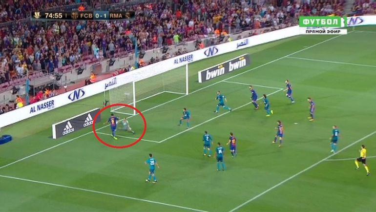 Эпизод с падением Луиса СУАРЕСА в матче Суперкубка Испании.