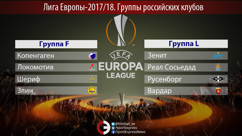 Жеребьевка группового этапа Лиги Европы сезона 2017/18