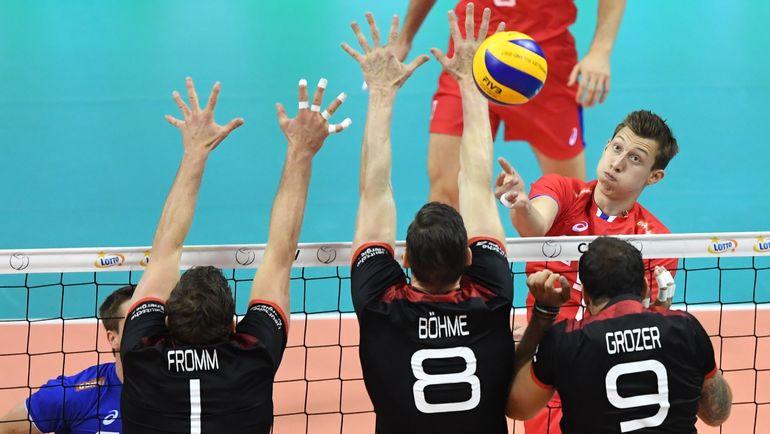 Сегодня. Краков. Германия - Россия - 2:3. В атаке Дмитрий ВОЛКОВ. Фото AFP