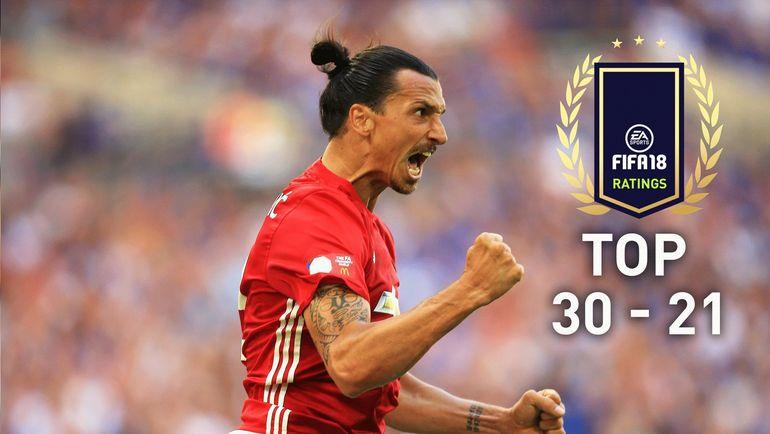 EA Sports опубликовала карточки игроков с 30 по 21 места в Топ-100 FIFA 18. Фото easports.com