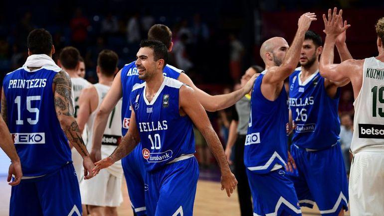 Баскетболисты сборной Греции. Фото AFP