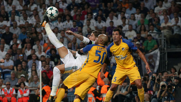 """Вчера. Мадрид. """"Реал"""" - АПОЭЛ - 3:0. 61-я минута. Гол СЕРХИО РАМОСА. Фото REUTERS"""