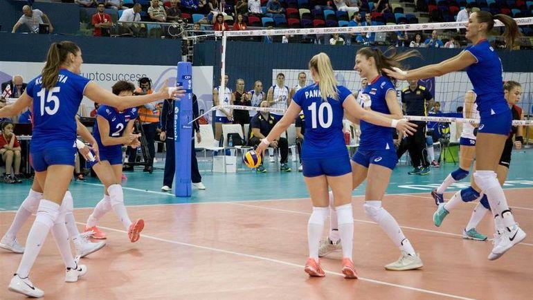 Сегодня. Баку. Россия - Украина - 3:2. Россиянки начали чемпионат Европы с победы. Фото cev.lu