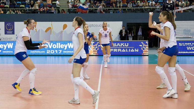 Сегодня. Баку. Россия - Турция - 3:1. Победа гарантировала россиянкам выход в плей-офф. Фото CEV