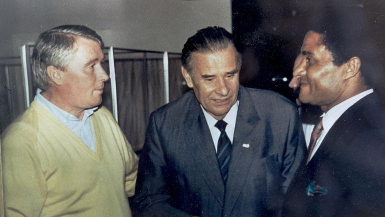 Анатолий КОРШУНОВ, Лев ЯШИН И ЭЙСЕБИО. Фото из архива Анатолия КОРШУНОВА