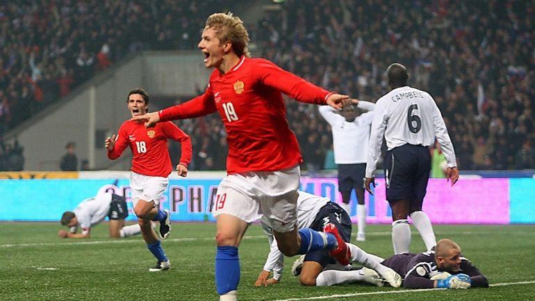 17 октября 2007 года. Москва. Россия - Англия - 2:1. Роман ПАВЛЮЧЕНКО празднует гол.
