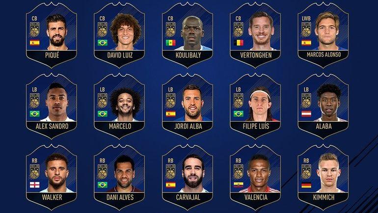 Защитники, претендующие на попадание в команду год FIFA 18. Фото EA Sports