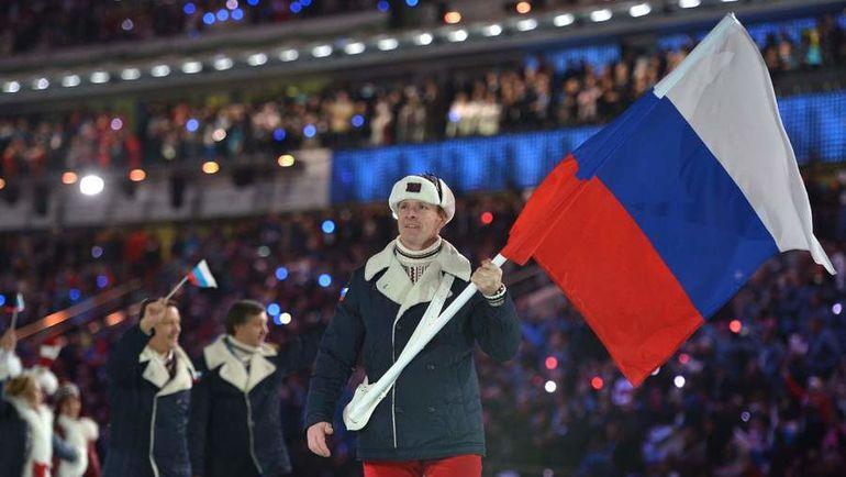 Александр ЗУБКОВ - знаменосец сборной России на Играх-2014 в Сочи. Фото AFP