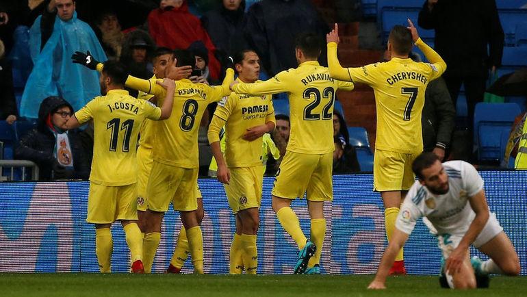 """Суббота. Мадрид. """"Реал"""" - """"Вильярреал"""" - 0:1. Денис ЧЕРЫШЕВ (№7) празднует гол вместе с одноклубниками."""