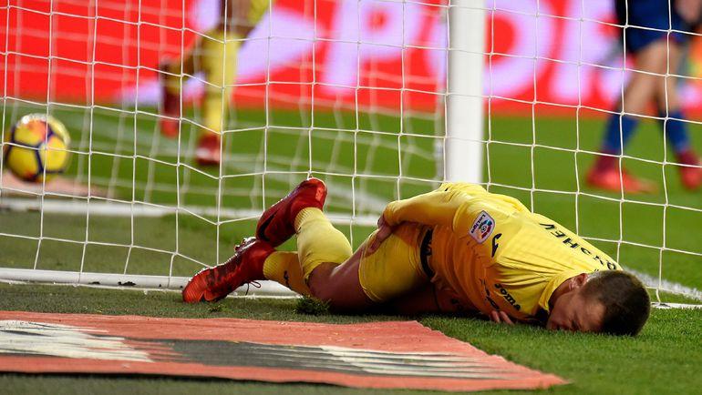 Забивая гол, Денис ЧЕРЫШЕВ ударился о штангу. Фото AFP
