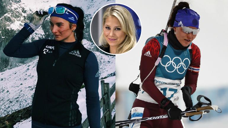 Лыжница Наталья НЕПРЯЕВА - слева и биатлонистка Татьяна АКИМОВА - справа. Анна КУРНИКОВА - в середине.