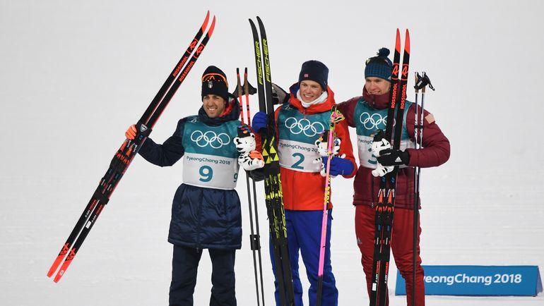 Федерико ПЕЛЛЕГРИНО, Йоханнес КЛЕБО и Александр БОЛЬШУНОВ (слева направо). Фото AFP