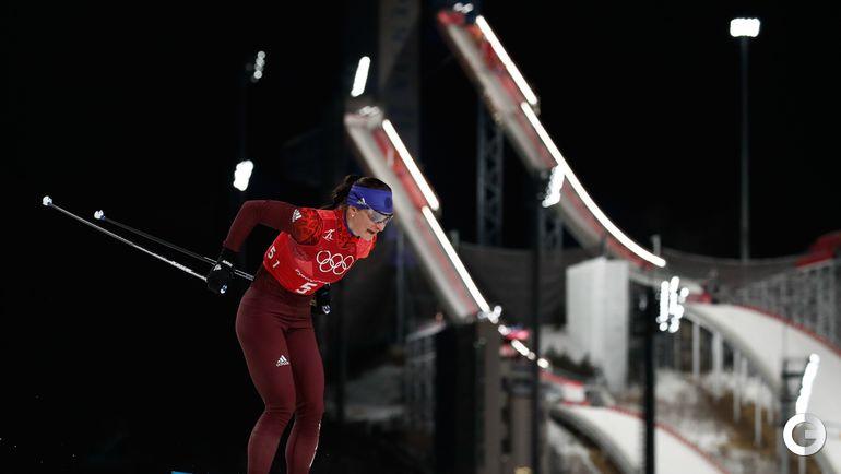 Сегодня. Пхенчхан. Лыжи. Женская эстафета 4х5 км. Наталья НЕПРЯЕВА лидирует на первом этапе.