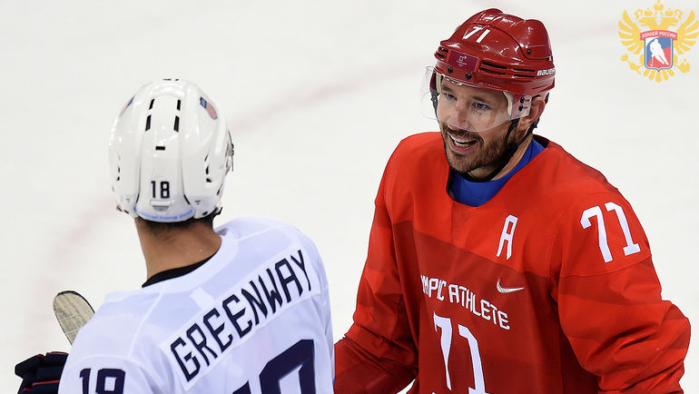 Джордан ГРИНУЭЙ (слева) и Илья КОВАЛЬЧУК. Фото ФХР
