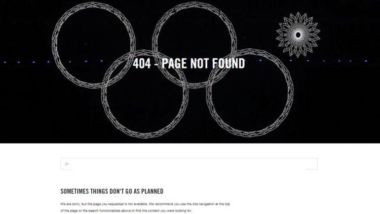 МОК напомнило обОлимпиаде вСочи при ошибке 404 насвоем сайте