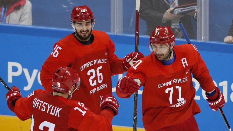 Илья КОВАЛЬЧУК (№71), Павел ДАЦЮК (№13) и Вячеслав ВОЙНОВ. Фото REUTERS