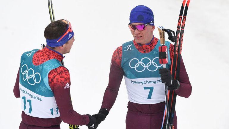 Суббота. Пхенчхан. Александр БОЛЬШУНОВ (справа) и Андрей ЛАРЬКОВ. Фото AFP
