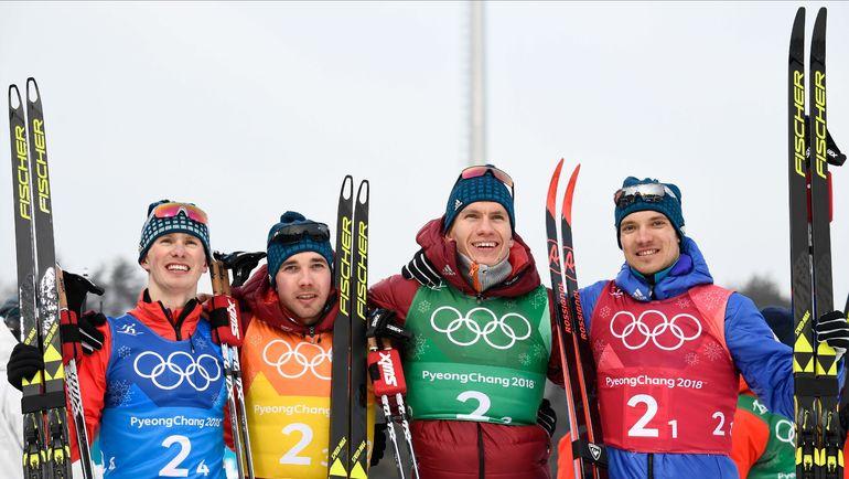 Денис СПИЦОВ, Алексей ЧЕРВОТКИН, Александр БОЛЬШУНОВ и Андрей ЛАРЬКОВ (слева направо). Фото AFP
