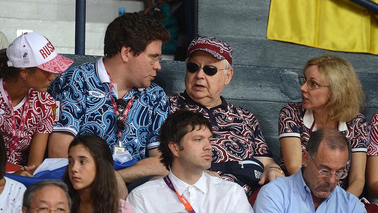 2012 год. Олег ТАБАКОВ (справа, с женой Мариной ЗУДИНОЙ) и Денис МАЦУЕВ на Олимпиаде в Лондоне. Фото Алексей ИВАНОВ