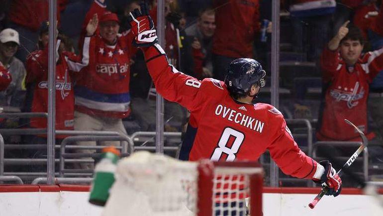 """Понедельник. Вашингтон. """"Вашингтон"""" - """"Виннипег"""" - 3:2 ОТ. Александр ОВЕЧКИН празднует 600-й гол в НХЛ."""