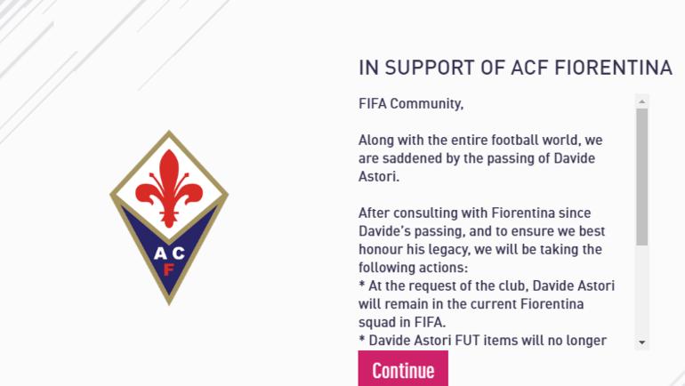 Информационное сообщение в FIFA 18.