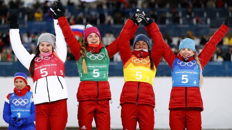 Бронзовые призеры Олимпиады-2018 в эстафете (слева направо) Наталья НЕПРЯЕВА, Юлия БЕЛОРУКОВА, Анастасия СЕДОВА, Анна НЕЧАЕВСКАЯ. Фото REUTERS