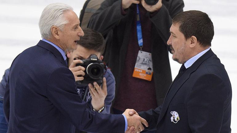 Зинэтула БИЛЯЛЕТДИНОВ (слева) и Анвар ГАТИЯТУЛИН. Фото Юрий КУЗЬМИН, photo.khl.ru