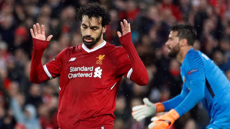 """Вторник. Ливерпуль. """"Ливерпуль"""" - """"Рома"""" - 5:2. 45+1-я минута. Мохамед САЛАХ оформил дубль в ворота гостей. Фото REUTERS"""