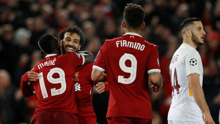 """Вторник. Ливерпуль. """"Ливерпуль"""" - """"Рома"""" - 5:2. Садио МАНЕ, Мохамед САЛАХ и РОБЕРТУ ФИРМИНУ (слева направо). Фото REUTERS"""