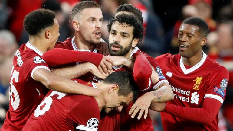 """Вторник. Ливерпуль. """"Ливерпуль"""" - """"Рома"""" - 5:2. Игроки хозяев празднуют забитый гол. Фото REUTERS"""
