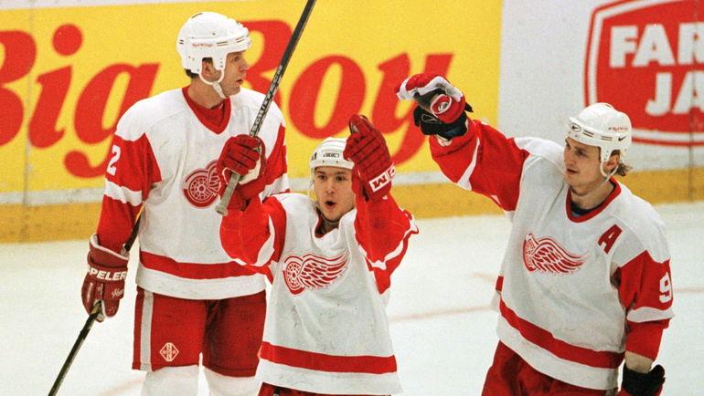 Вячеслав ФЕТИСОВ, Вячеслав КОЗЛОВ и Сергей ФЕДОРОВ (слева направо). Фото REUTERS