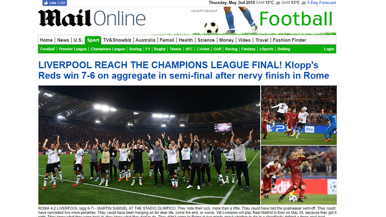 """Daily Mail о матче """"Рома"""" – """"Ливерпуль"""" – 4:2."""